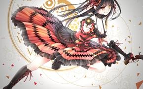 artwork, anime, Date A Live, anime girls, gun, Tokisaki Kurumi