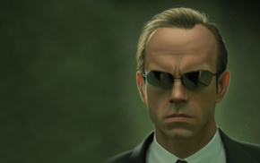 portrait, simple background, sunglasses, reflection, tie, Agent Smith