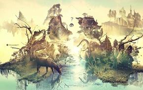 elephants, yoga, lake, trees, animals, digital art