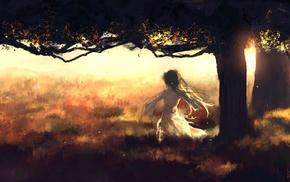 trees, anime girls, white dress, anime, Hatsune Miku, back