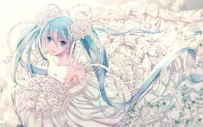 long hair, white flowers, anime girls, Hatsune Miku, twintails, flower in hair
