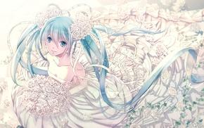long hair, white flowers, anime girls, Hatsune Miku, twintails, flower in hair