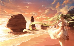 Vocaloid, anime, anime girls, beach, wind, long hair