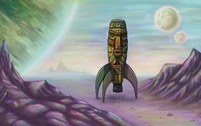 artwork, space, fantasy art, rockets, vintage, totem