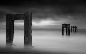 horizon, sea, monochrome, pillar, sand, ruin