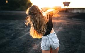 sunlight, nature, long hair, model, girl, ass