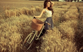trees, long hair, tank top, spikelets, bicycle, grain
