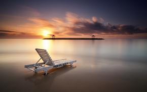 sunset, deck chairs, clouds, motion blur, village, Bali