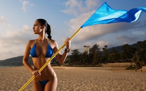 Helga Lovekaty, brunette, Aleksandr Mavrin, flag, beach, girl