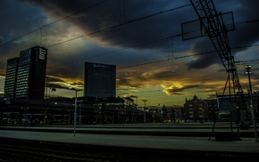 city, building, Oslo, sunset, train station