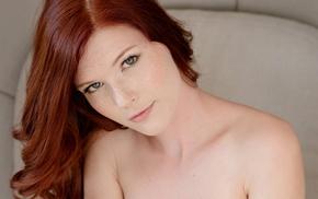girl, redhead, Mia Sollis, long hair, freckles, face