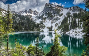 mountain, snowy peak, trees, water, landscape, Canada