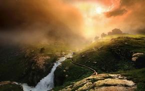 Italy, nature, mountain, river, sunrise, Alps