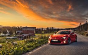 Toyota GT86, Toyota, sheep, farm, sunset, GT86