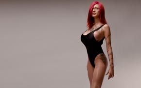 redhead, Ariane Saint, Amour, model, tattoo, glasses