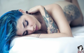 Mendacia Suicide, model, tattoo, Suicide Girls, girl, blue hair