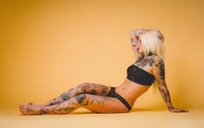 model, arms up, tattoo, girl, black panties, feet