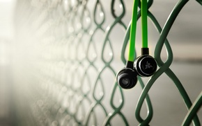 Razer Adaro, technology, fence, macro, green, Hi
