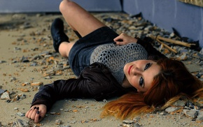 pierced nose, smiling, lying on back, girl outdoors, see, through clothing