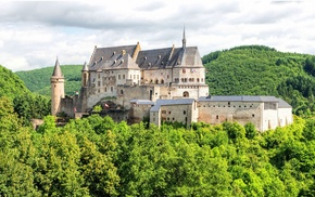 castle, trees, nature, forest, walls, clouds