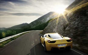 Ferrari 458, clouds, nature, car, Super Car, motion blur