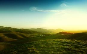 California, sunlight, landscape, field