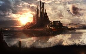 fantasy art, sunset, clouds, moon, landscape