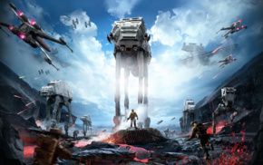 Star Wars Battlefront, X, wing, Star Wars, video games, AT