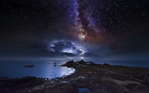 nature, coast, lighthouse, space, storm, long exposure