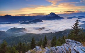 mist, landscape, clouds, valley, snowy peak, sunrise