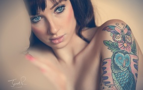 tattoo, nose rings, face, girl, blue eyes, Jack Russell