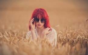 girl with glasses, grass, redhead, face, girl