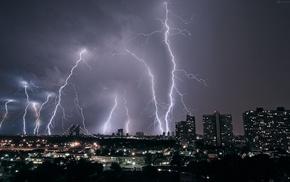 building, night, storm, cityscape, lightning