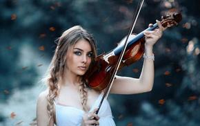 girl, braids, auburn hair, violin, blurred, blue eyes