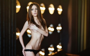 Xenia Kokoreva, topless, auburn hair, blurred, panties, model