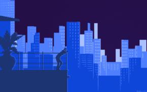 digital art, building, minimalism, balconies, skyscraper, girl