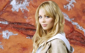 face, actress, blue eyes, Laura Vandervoort, blonde, coats
