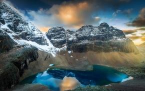 water, clouds, nature, lake, landscape, sunrise