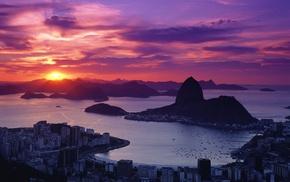 cityscape, sunset, Rio de Janeiro