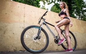 bicycle, blonde, ponytail, sport, girl