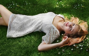 girl, blue eyes, blonde, white dress, nature, lying on back