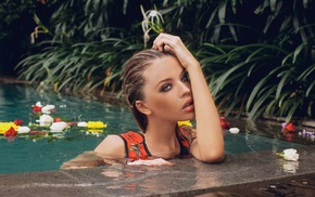blue eyes, auburn hair, wet body, flowers, girl, wet hair
