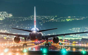 cityscape, passenger aircraft, wings, rear view, night, hill