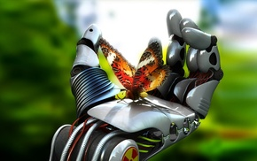 butterfly, hand, digital art, fantasy art, 3D, robot