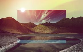 mountain, artwork, rock, landscape, glitch art, reflection
