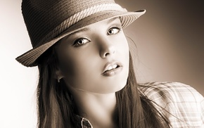 face, girl, sepia, portrait