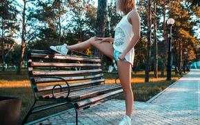 jean shorts, nipples through clothing, blonde, bench, girl