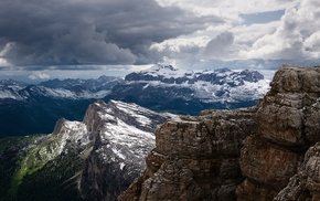 snowy peak, Alps, clouds, landscape, mountain, nature