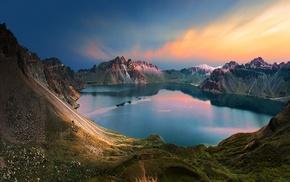 water, snowy peak, sunrise, nature, landscape, calm