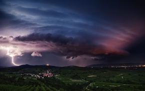 villages, clouds, storm, landscape, nature, lightning